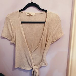 Urban Outfitters Wrap Top in Beige